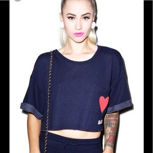 Wildfox sweater; cropped heart rate top